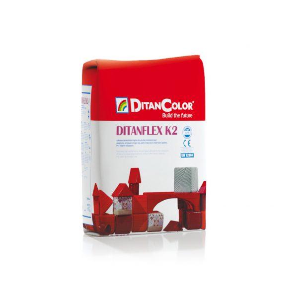 DITANFLEX K2 - Adesivo cementizio migliorato ad alte prestazioni. Per interni ed esterni