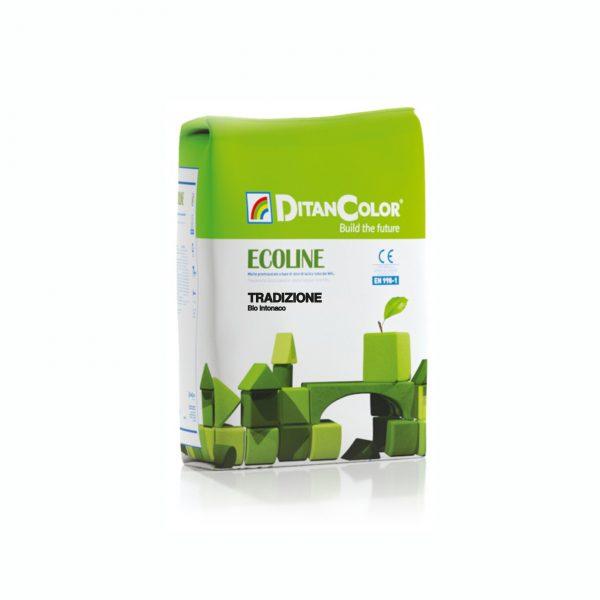 ECOLINE TRADIZIONE - Bio-intonaco fibrorinforzato a base di calce idraulica NHL 3,5 per interni ed esterni